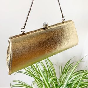 Vintage Gold Evening Clutch With Crystal Closing
